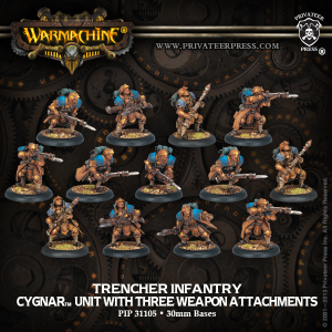 Trencher Infantry with Three Weapon Attachments — Unité Cygnar 50€